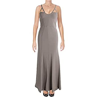 Vera Wang Women's Long Spaghetti Strap Gown With Cutout Detail, Ash Gray, 2