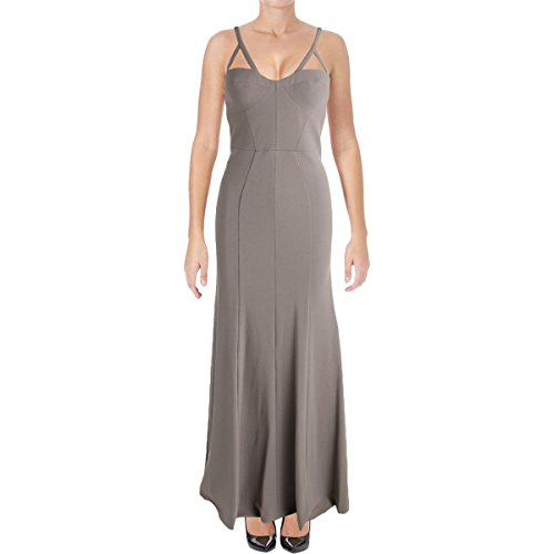 Vera Wang Women's Long Spaghetti Strap Gown with Cutout Detail, ash Gray 4