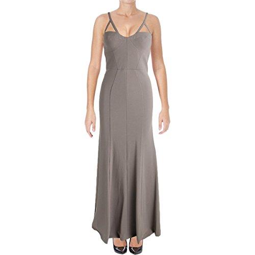 Vera Wang Women's Long Spaghetti Strap Gown with Cutout Detail, ash Gray 4 -