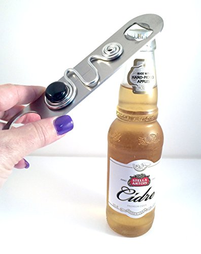 Stainless Steel Beaded Beer Bottle Opener with a Cabochon Ma