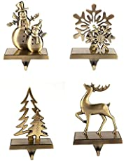 4 Pcs Set Christmas Stocking Holder Antique Bronze Color - Mantle Clip Stocking Holder - Christmas Stocking Holders For Fireplace Mantle - Assorted Styles Snowmen, Snowflake, Xmas Tree, Reindeer
