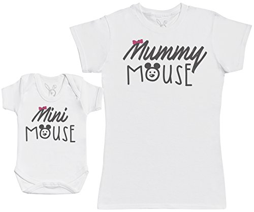 Mini Mouse - Baby Gift Set with Baby Bodysuit & Mother's T-Shirt - White - L & 12-18M