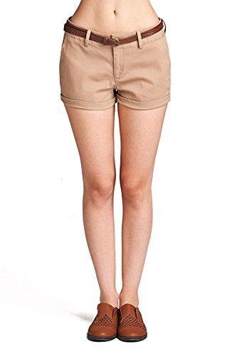 Emmalise Women's Casual Comfortable Fashion Summer Shorts w Back Pockets - Flat Front Khaki, M (Shorts Women : Pleated Khaki)