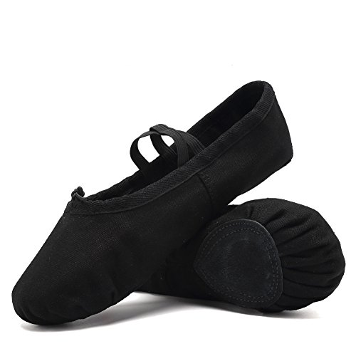 CIOR Ballet Slippers For Girls Classic Split-Sole Canvas Dance Gymnastics Yoga Shoes Flats(Toddler/Little Kid/Big Kid/Women) VTW01-2,Black,23