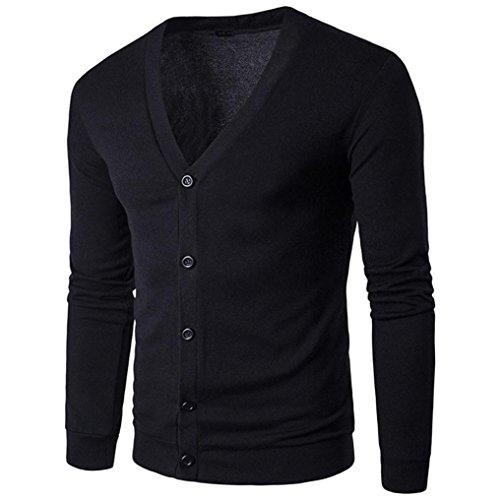 Mens Coat,Haoricu Autumn Winter Men Boys V Neck Long Sleeve Button Knit Sweater Cardigan Coat Tops (M, Black)