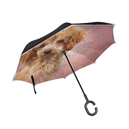 My Daily Double Layer Inverted Umbrella Cars Reverse Umbrella Toy Poodle Puppy Dog Windproof UV Proof Travel Outdoor Umbrella