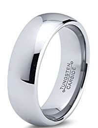 Tungsten Wedding Band Ring 7mm for Men Women Comfort Fit Domed Round Polished