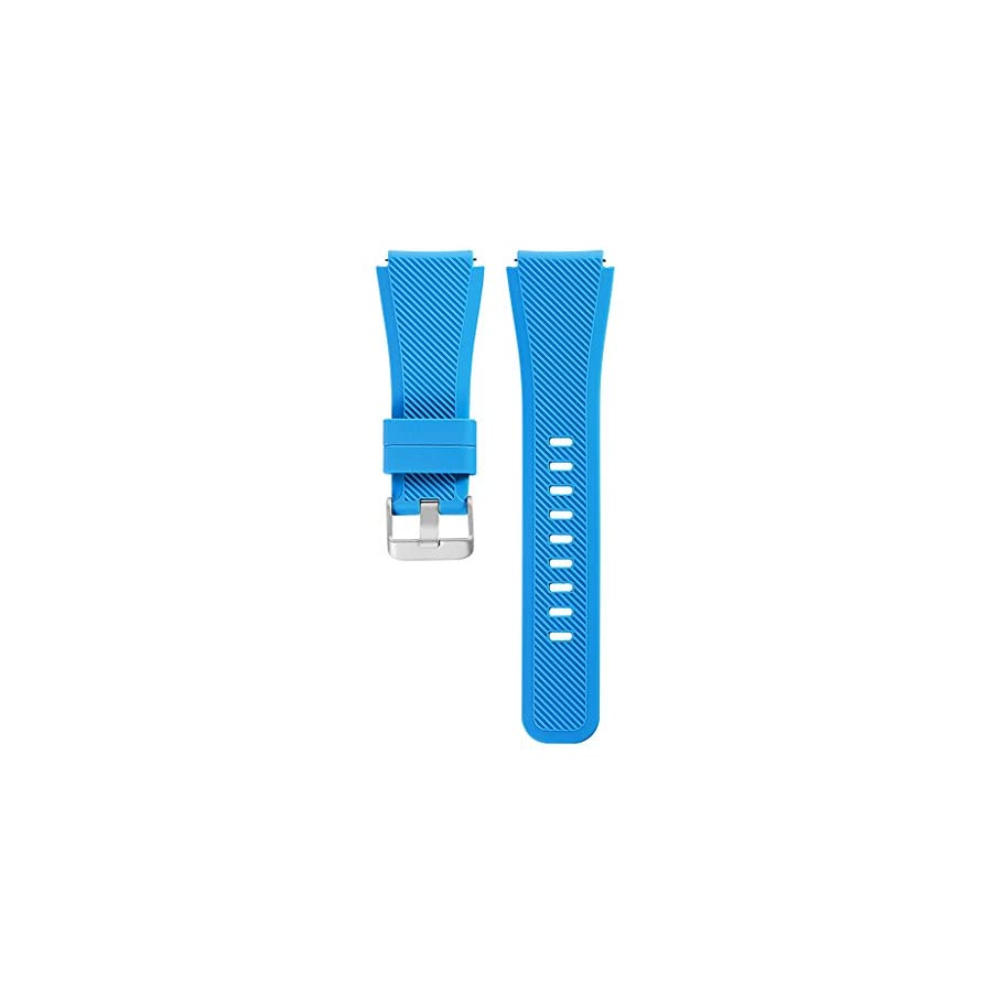 SCASTOE Silicone Bracelet Watch Strap Band L Size Wristband for Samsung Gear S3 Frontier Classic Light Blue