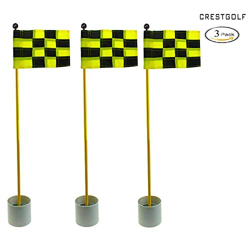 CRESTGOLF 3Sets Backyard Practice Golf Hole Pole Cup Flag Stick, 3 Section,Golf Putting Green Flagstick (black-yellow plaid)