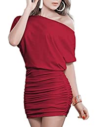 323dcd7238 Women s Sexy Off Shoulder Party Club Ruched Bodycon Mini Dress