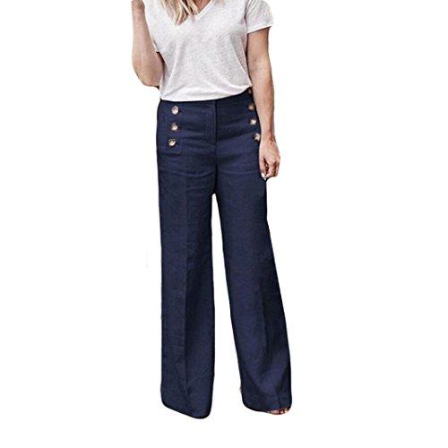 FANOUD Casual Loose Elastic Button Pants Waist Wide