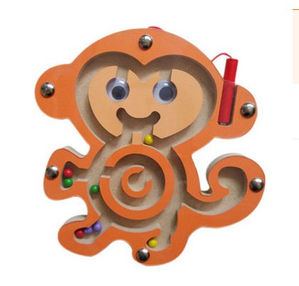 Elloapic Mini Round Wooden Round Maze Puzzle Interactive Maze Pen Driving Beads Maze on Board Game Eduactional Handcraft Toys Monkey