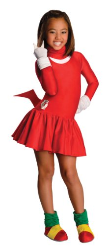 [Sonic The Hedgehog Girls Knuckles Costume, Large] (Sonic Hedgehog Costume Rental)