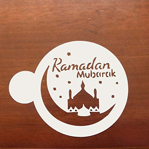 WT-YOGUET 3 Pcs//Set Eid Mubarak Ramadan Coffee Flower Spray Stencils Mosque Biscuit Baking