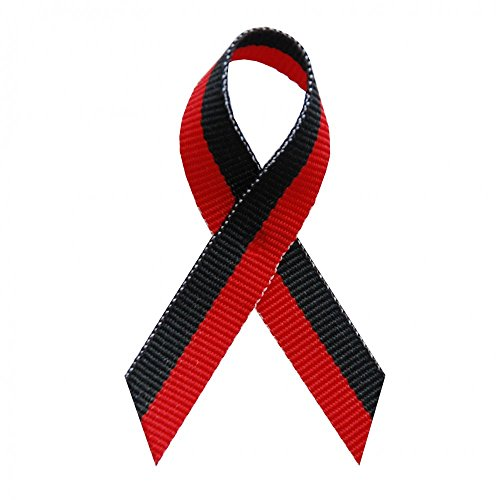250 USA Made Red & Black Bi-Stripe Awareness Ribbons - Bag of 250 Lapel Ribbons with Safety Pins (Many Colors Available)