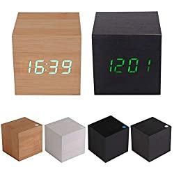 Saxony Alarm Clock Best Quality, Wood Square Blue Led Alarm Digital White Desk Clock Wooden Thermometer - Wooden Alarm, Vintage General Electric Clock, Small Square Wall Clock, Talking Cube Clock