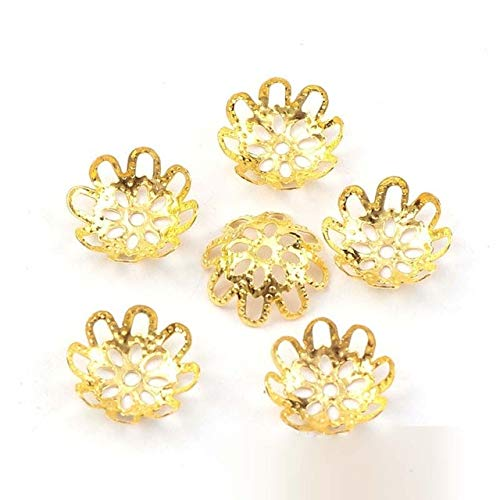 Laliva Accessories - 100pcs 15mm Vintage Filigree Metal Eight-Leaf Hollow Flower Spacer Beads End Caps Pendant DIY Charms Connectors Jewelry Findings - (Color: Gold)