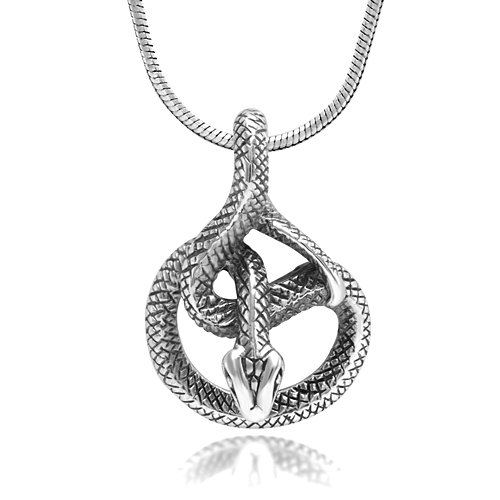925 Sterling Silver Detailed Coil Cobra Snake Animal Lovers Pendant Necklace, 18 inches