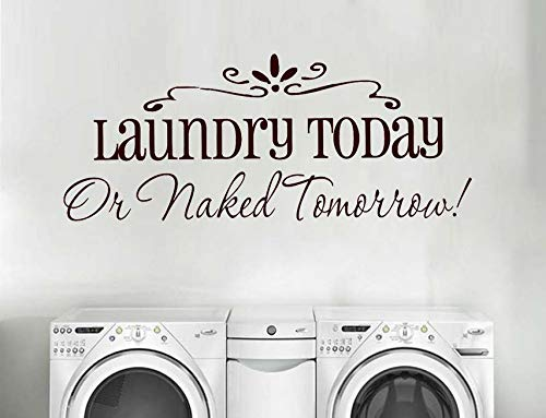 ponana Laundry Today Or Tomorrow Quote Wall Stickers Home Decor Bathroom Simple Laundry Room Sign Decals Waterproof Sticker 102X42Cm