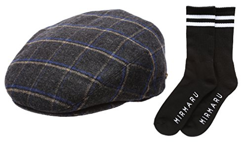 Men's Winter Collection Wool Plaid Flat Newsboy Ivy Hat with MIRMARU (Lined Plaid Ivy Cap)