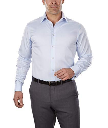 (Calvin Klein Men's Dress Shirt Non Iron Solid, Blue, 18