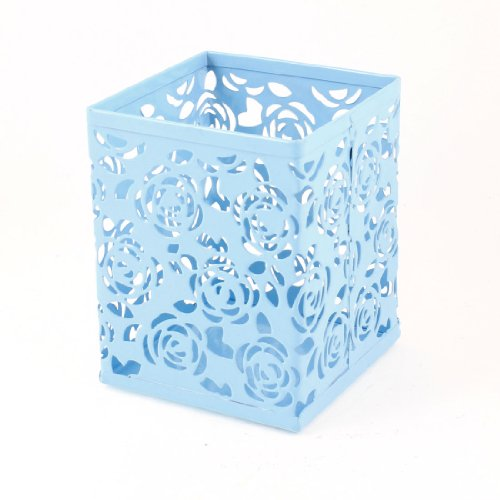 uxcell Light Blue Hollow Rose Flower Square Metal Pen Pencil Pot Holder Organizer (Amico Flower)