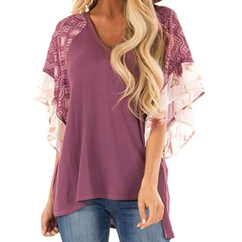 NCCIYAZ Womens T-Shirt V-Neck Chiffon Print Ruffle Batwing Short Sleeve Tunic Top Ladies Beach Blouse(L(8),Plum)]()