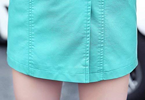 Lunghe Breasted Colore Transizione Libero Giacca Outwear Lunga Chic Elegante Primaverile Donna Gesteppt Autunno Tempo Double In Cappotto Blau Trench Puro Fit Maniche Similpelle Bavero Ragazza xU4q0w6Hq