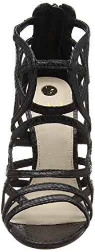 La Strada Black Snake Leather Look Sandal, Women's Open Toe Sandals Black - Schwarz (1501 - Snake Black)