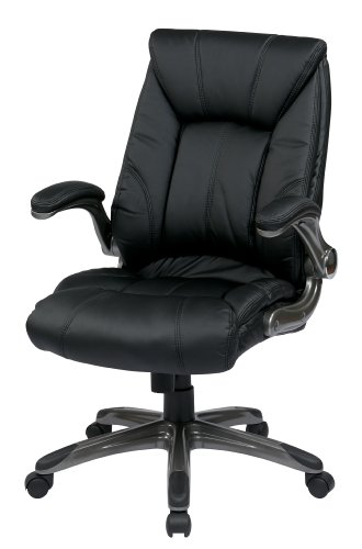 Office Star Faux Leather Seat and Mid Back Executive Chair with Padded Flip Arms and Titanium Finish Accents, Black