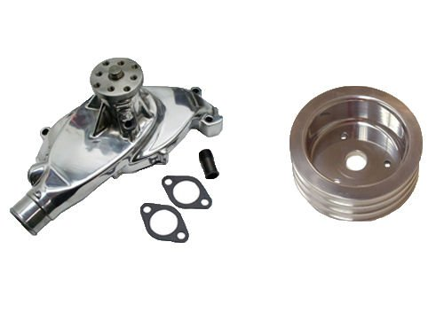 Short Chrome Aluminum Water Pump High Volume for BBC Chevy 396 427 454 & Triple Groove Polished Crank Pulley