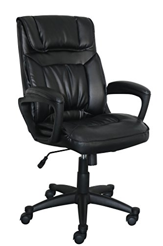 Serta Style Hannah I Office Chair, Bonded Leather, Black - Soft Leather Office Chair