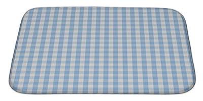Gear New Blue Plaid Pattern Bath Rug Mat No Slip Microfiber Memory Foam