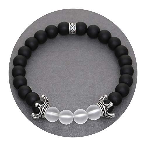 Micro Pave Cubic Zirconia Crown Charm Bracelet Men Women's Crack Stone Beads Bracelet Jewelry,ND2221,Size M 18-19cm