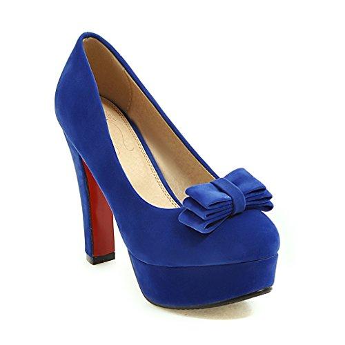 DYF Zapatos de Mujer Color Sólido Nudo Mariposa de Gran Tamaño de Cabeza Redonda, de Tacón Alto,Blue,35