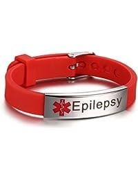 Pre-Engraving Medical Alert ID Bracelets for Kids Adult Medical Silicone Wristbands 8-Size Adjustable