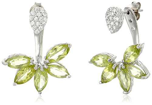 Peridot And Cubic Zirconia Floral Earring Jacket