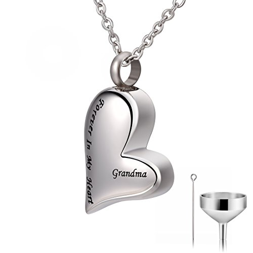 CAT EYE JEWELS Grandma Forever in My Heart Keepsake Memorial Urn Necklace with Funnel Kit