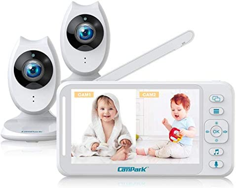 Campark Baby Monitor with 2 Cameras – Video Baby Monitors with Camera and Audio, 4.3″ LCD Split Screen, Two-Way Talk, Night Vision, 8 Lullabies, VOX Mode, Temperature Baby Monitor & Long Last Battery