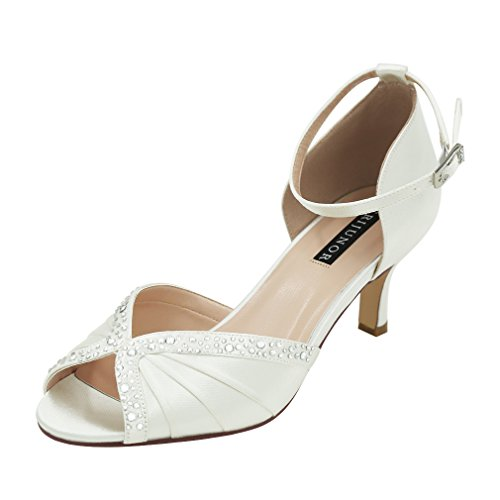 ERIJUNOR E8805C Women Comfort Low Heel Ankle Strap Rhinestones Pleat Dyeable Satin Wedding Dance Shoes White Size 6