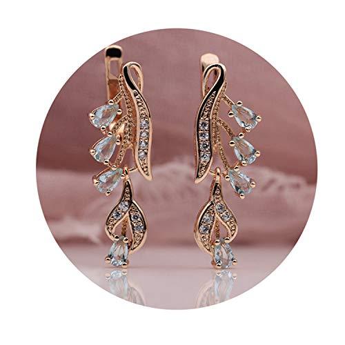 Gold Multicolor Water Drop Natural Zircon Wedding Party Fine Jewelry Women Long Dang ()