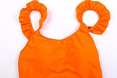 Uskincare Mujer Chica Bañador Traje de Baño de Una Pieza con Tirantes Push Up Triángulo Bikinis 4-Naranja