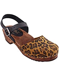 Lotta From Stockholm Swedish Clogs Low Wood In Leopard and Black On a Brown Base