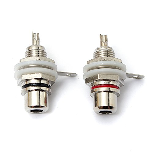 (CynKen 4pcs Silver Plated RCA Panel Chassis Socket Female Jack Connectors for Phono)