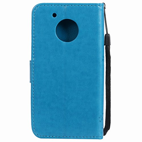 Yiizy Motorola Moto G5 Custodia Cover, Alberi Disegno Design Premium PU Leather Slim Flip Wallet Cover Bumper Protective Shell Pouch with Media Kickstand Card Slots (Blu)