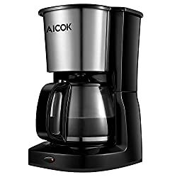 Aicok 10-Cup Drip Coffee Maker Thermal Coffee Machine with Glass Coffee Pot and Permanent Coffee Filter, Stainless Steel, Black by Aicok