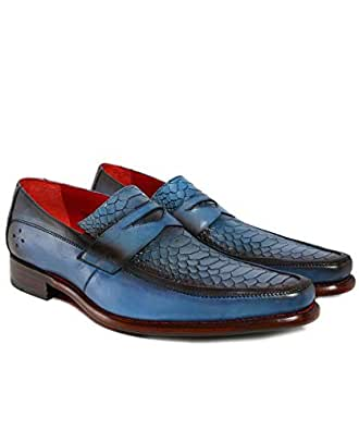 Jeffery-West Hombres Mocasines de Cuero Melly Penny Azul: Amazon.es: Zapatos y complementos