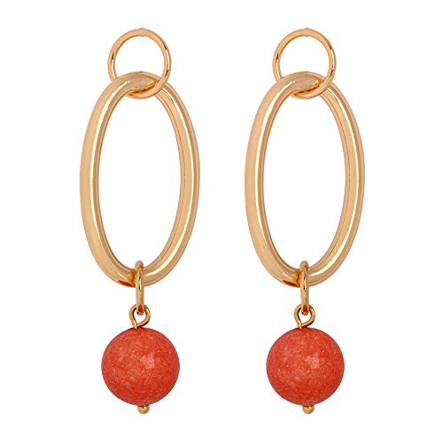 (MVCOLEDY Geometric Double Circle Natural Stone Dangle Drop Earrings Gold Plated Made with Orange Natural Stone Beads, Vintage Style Earrings for Women and Girls (Orange))