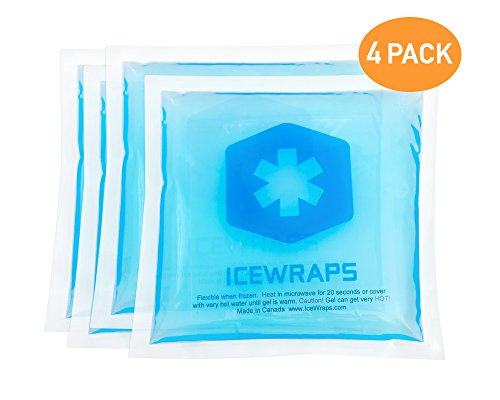 Reusable Hot Cold Packs - Set of 4 Microwaveable Hot Packs or Ice Cold Compress for Pain Relief, Boo Boo Pack, Nursing Pad, or First Aid - Blue 5x5 Gel Packs