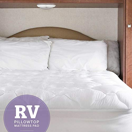 eLuxurySupply RV Mattress Pad - Extra Plush Topper with Fitted Skirt - Found in Marriott Hotels - Made in The USA - Hypoallergenic - Mattress Cover for RV, Camper - Short Queen